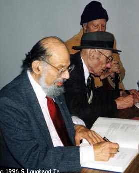[Photograph: Beat Generation writers Allen Ginsberg and William S. Burroughs, November 2, 1996, KU Spencer Museum of Art, Lawrence, KS. Their last public appearance together. Copyright 1996, George Laughead]