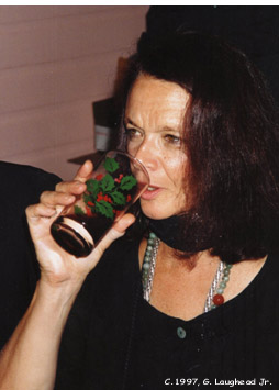 [photo: Beat Poet Anne Waldman photographed at William Burroughs funeral banquet, August 6, 1997, Lawrence, KS. Copyright 1997, George