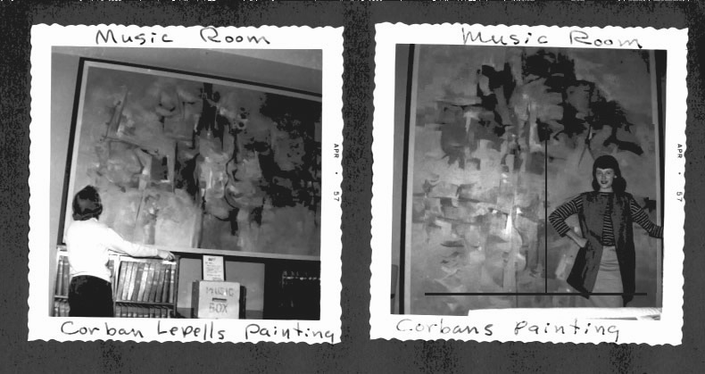 [photograph: Corban LePell paintings in NU Music Room.]