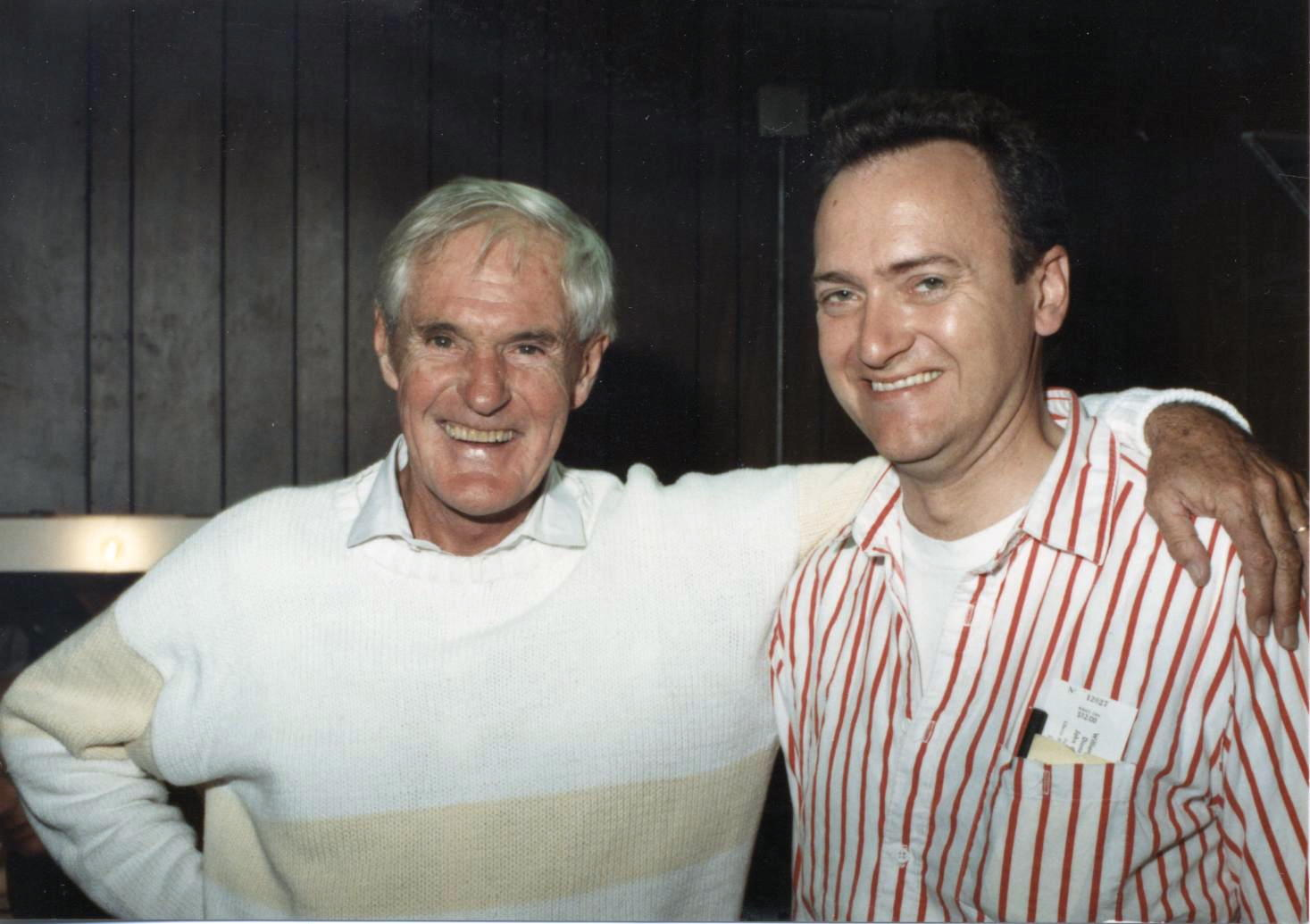 [Dr. Timothy Leary and George Laughead Jr., Liberty Hall, Lawrence, Kansas. Back stage after Dr. Timothy's performance at the River City Union, September 12, 1987. Photograph by Doug L. Miller: used with permission.]