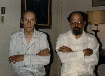 Photograph: Beat Generation founders William S. Burroughs and Allen Ginsberg wearing old fashion cotton PJ's with big buttons, in William's house. Photograph by Pat Elliott, copyright, all rights reserved, used with permission.