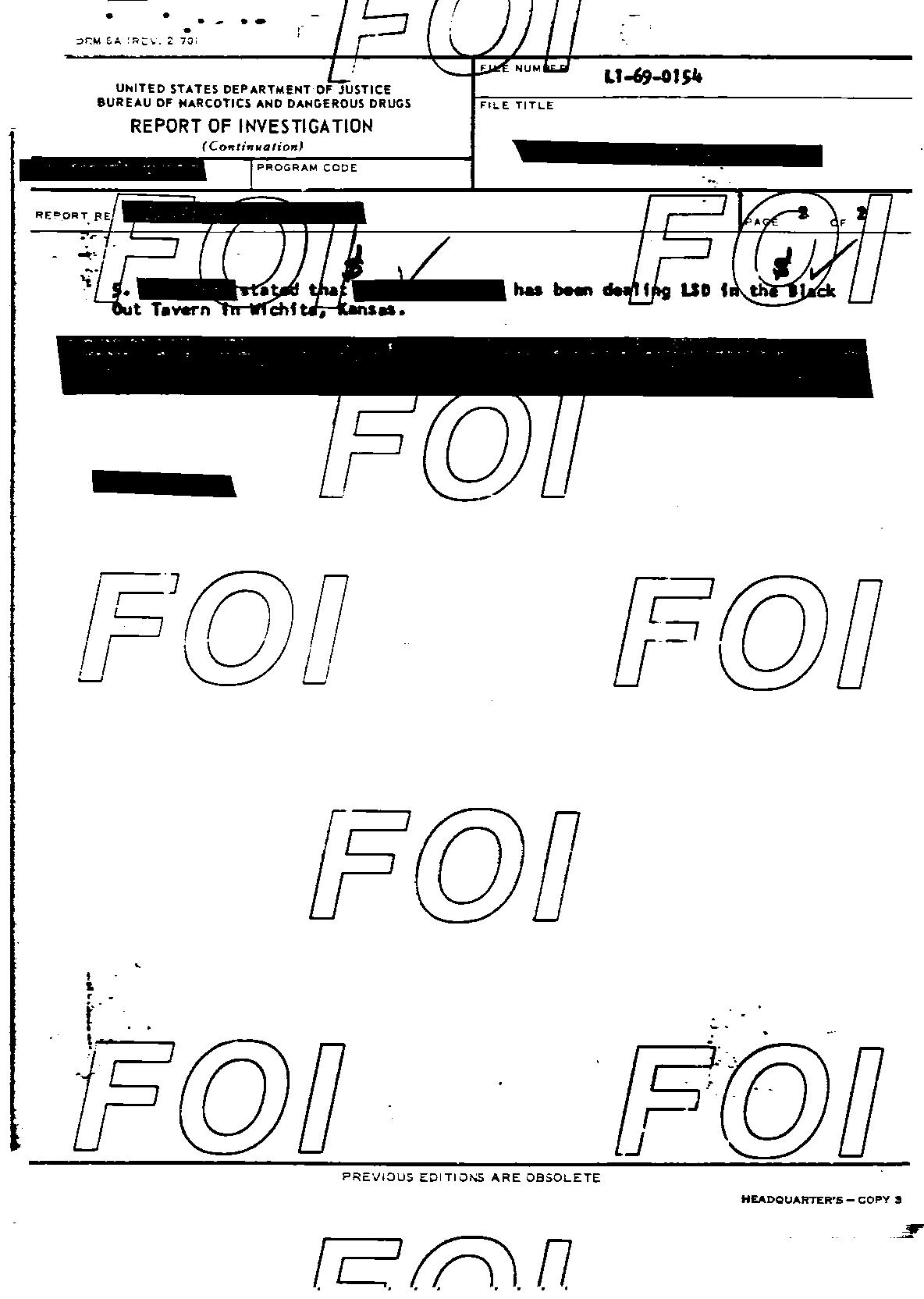 [photo: The Black Out Tavern (sic) listed on Department of Justice Report of Investigation form obtained through the Freedom of Information Act.]