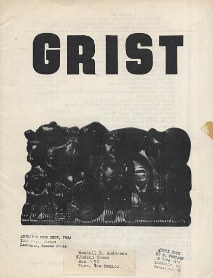 [photograph: Grist No. 8 (1966) magazine issue with Allen Ginsberg's Wichita Vortex; edited by John Fowler, George Kimball and Charley Plymell. Site author's copy.]