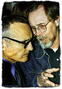 [photograph image: Dennis Hopper and Bruce Conner, both Kansas natives, by Larry Keenan, San Francisco, 1996. Copyright 1996, Larry Keenan, Beat Generation Photos; Used with permission.]