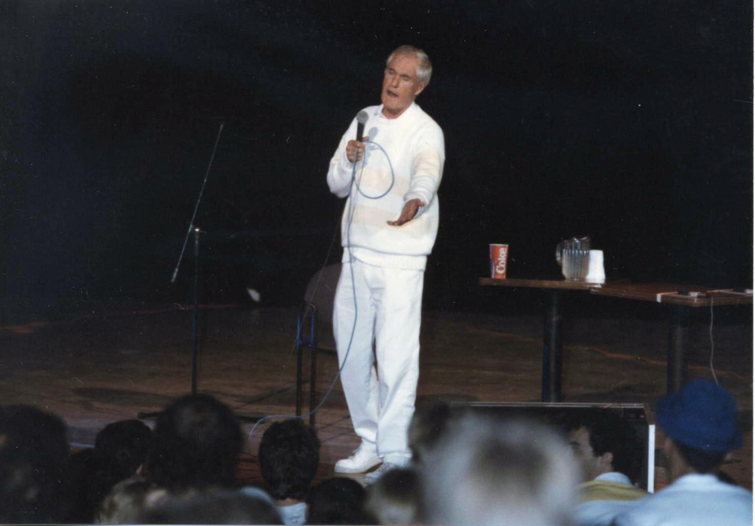 [Dr. Timothy Leary, Liberty Hall, Lawrence, Kansas. Dr. Timothy's performance at the River City Union, September 12, 1987. Photograph by Doug L. Miller: used with permission]