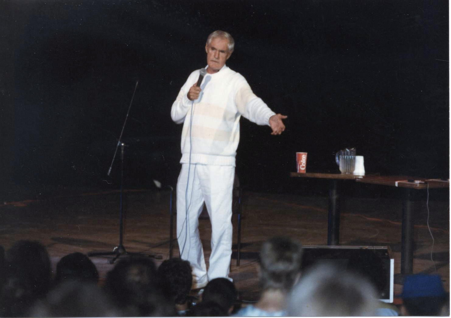 [Dr. Timothy Leary, Liberty Hall, Lawrence, Kansas. Dr. Timothy's performance at the River City Union, September 12, 1987. Photograph by Doug L. Miller: used with permission.]