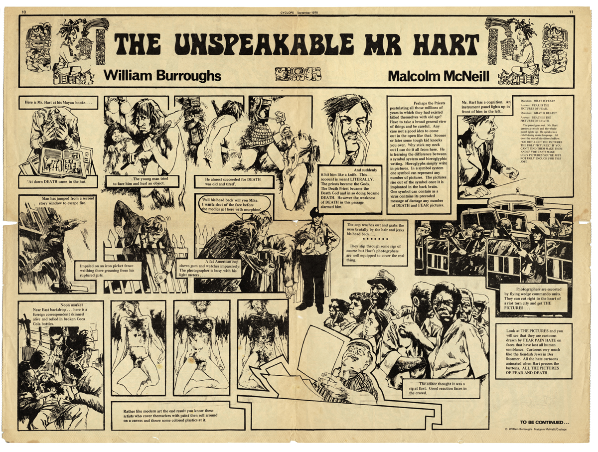 [The Unspeakable Mr.Hart:Cyclops #3, text by William Burroughs; art work by Malcolm McNeill, © 1970]