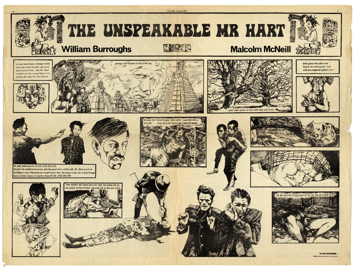 [Comic series: The Unspeakable Mr.Hart: Cyclops #4, text by William Burroughs; art work by Malcolm McNeill, © 1970]