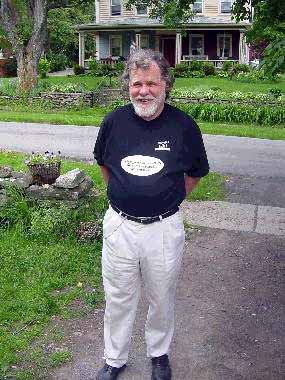 [photo: Beat Generation writer Charles Plymell in Moody's Skidrow Beanery shirt, Cherry Valley, NY, 2002. Copyright 2002, Pat O'Connor.]