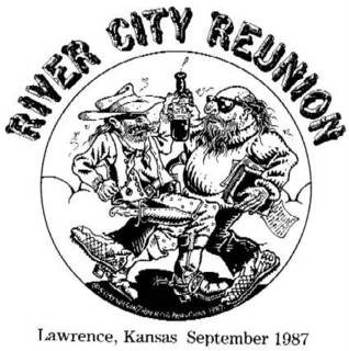 River City Reunion logo designed by S. Clay Wilson -- Allen Ginsberg versus S. Clay Wilson. Copyright 1987, S. Clay Wilson.]