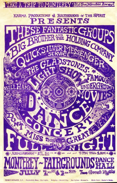[image: Monterey Dance Concert Poster by Robert Ronnie Branaman, July 1966]