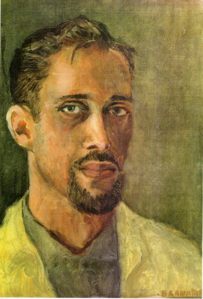 [Oil painting: Robert Branaman self-portrait, from late 1950's when he was about 24 years old
