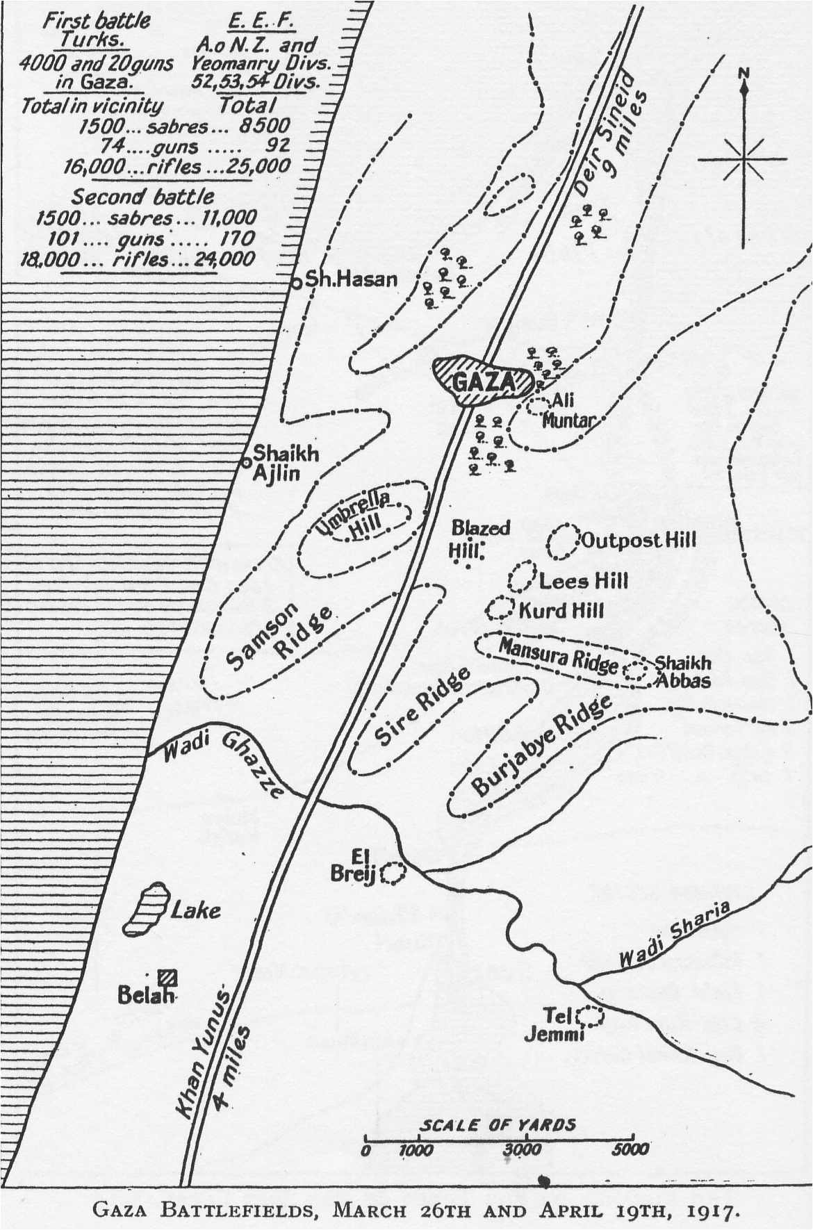 [WWI map: Gaza Battlefields, March 26 and April 19, 1917]